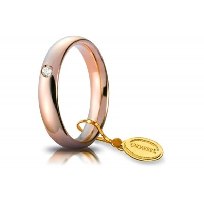Fede unoaerre comoda 4mm in oro rosa con diamante