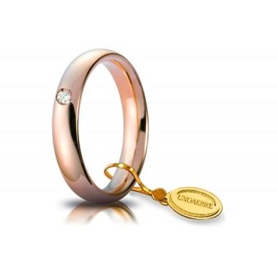 Fede unoaerre comoda 4mm in oro rosa con diamante