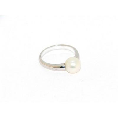 anello perla in oro bianco AA25