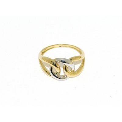 anello oro giallo e bianco a intreccio AA27