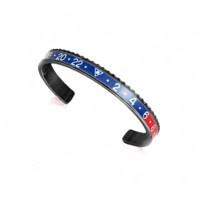SPEEDOMETER OFFICIAL BLACK BRACCIALE GHIERA ROSSA E BLU IN PVD NERO