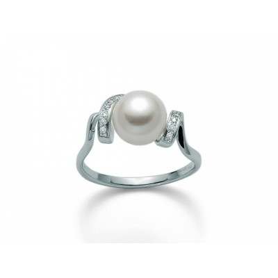 Anello Miluna PLI1545 in oro bianco con perla e diamanti.