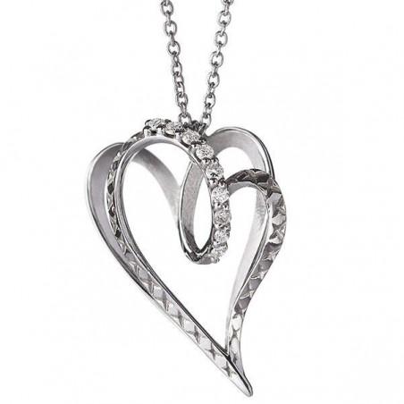 Alfieri & St. John collana cuore oro bianco e diamanti  collezione 1402