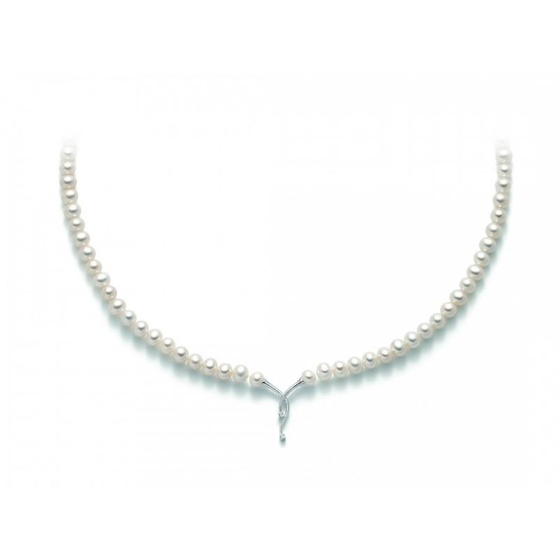 rivenditore all'ingrosso migliore vendita vendita a basso prezzo Collana di perle Miluna PCL5228 con centrale in oro bianco e diamanti