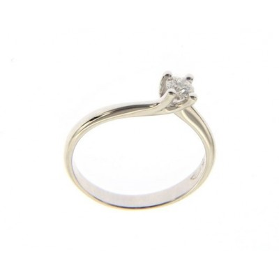 Solitario in Oro Bianco 18 Kt con Diamante 0,20 Ct.