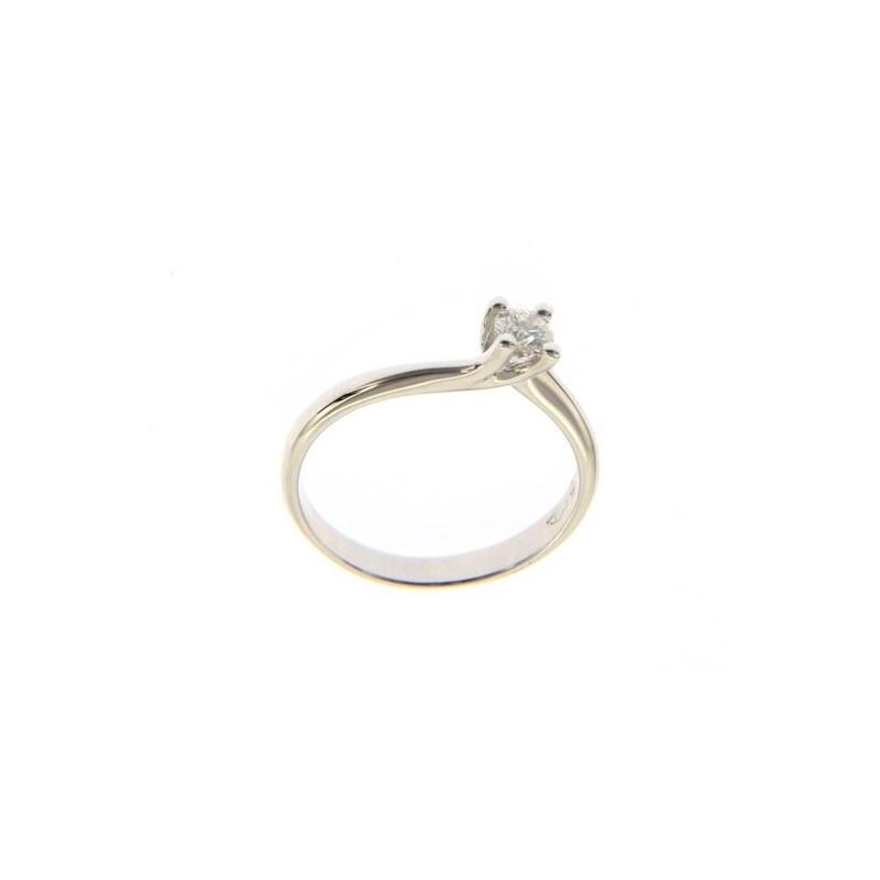 Solitario in Oro Bianco 18 Kt con Diamante 0,20 Ct.