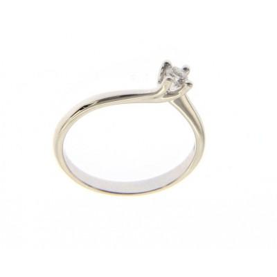 Solitario in Oro Bianco 18 Kt con Diamante 0,10 Ct.