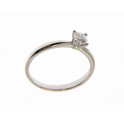 Solitario in Oro Bianco 18 Kt con Diamante 0,30 Ct