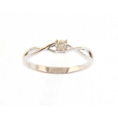 Solitario in Oro Bianco 18 Kt con Diamante 0,13 Ct.