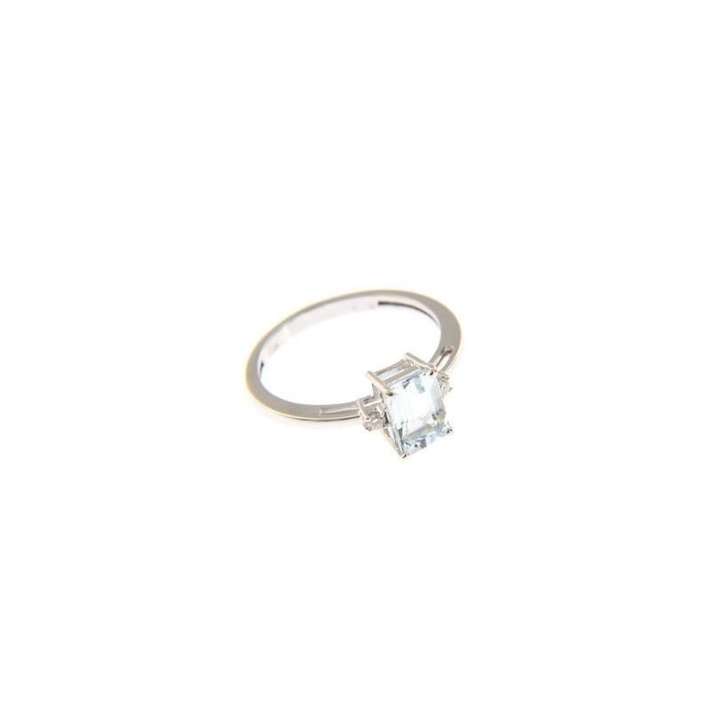 Anello in Oro Bianco 18 Kt con Acquamarina rettangolare e Diamanti - Babila Milano
