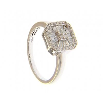 Anello in Oro Bianco 18 Kt con Diamanti 0,5 Ct Baguette