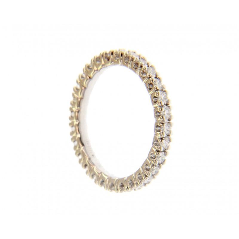 Anello in Oro Bianco 18 Kt con giro Diamanti 0,92 Ct