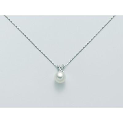 Miluna Collana con Perla e Diamanti Oro Bianco 9 Kt PCL5171XPCL