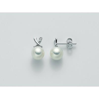Miluna Orecchini di Perle con Diamanti in Oro Bianco 9 Kt PER2208X