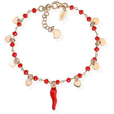 Bracciale con corno rosso, cristalli rossi e cuori in Argento Rosé Amen BRCSHRR1