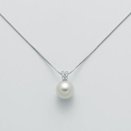 Miluna Girocollo Oro Bianco con Perla e Diamanti PCL5524