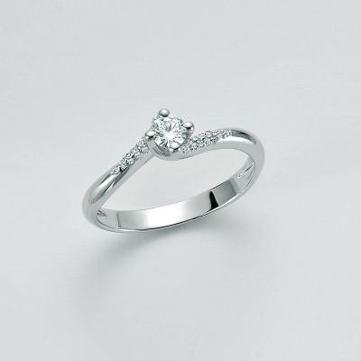 Miluna Solitario Oro Bianco e Diamanti LID3297