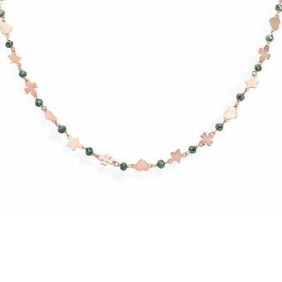 Collana Amen Stella, Quadrifoglio e Cuore Argento Rosa pietre Verdi CLCQSRV
