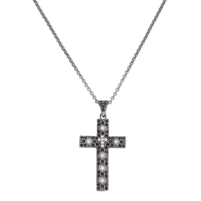 Collana Amen in Argento con Croce e zirconi colorati CCZNB