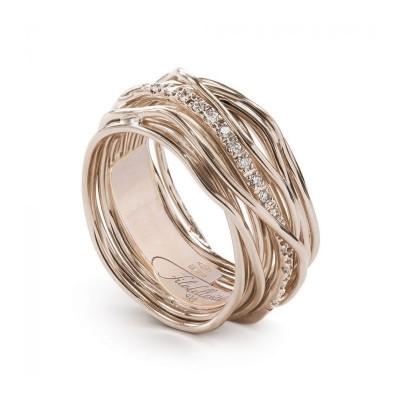 FiloDellaVita Anello Classic 13 Fili Oro Rosa e Diamanti AN13RBT