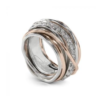 FiloDellaVita Anello Carato Argento, Oro Rosa e Diamanti AN001ARBT
