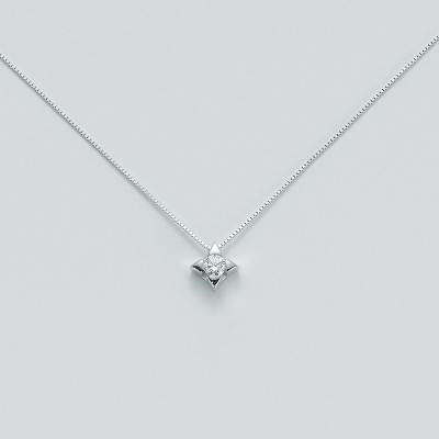 Miluna Girocollo Punto Luce CLD2937_014G7 Oro Bianco e Diamante