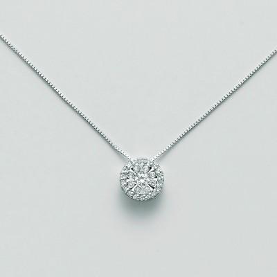 Miluna Girocollo Punto Luce CLD4182 Oro Bianco e Diamanti