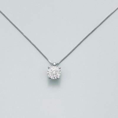 Miluna Girocollo Punto Luce Oro Bianco e Diamante CLD4006
