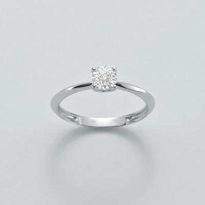 Miluna Anello Solitario Oro Bianco con Diamante LID3223