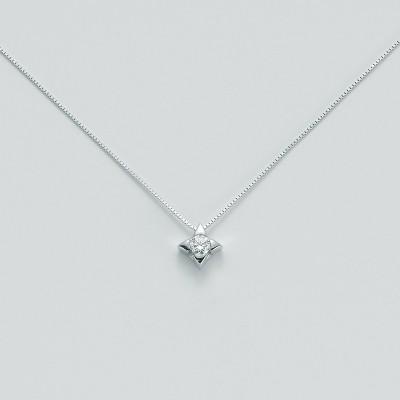 Miluna Girocollo Punto Luce Oro Bianco e Diamante CLD2937-010G7