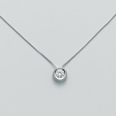 Miluna Girocollo Punto Luce Oro Bianco e Diamante CLD3924-003G7