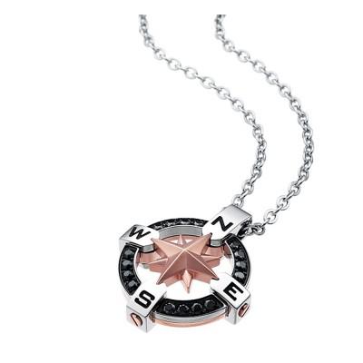 Zancan Collana acciaio con Rosa dei Venti e pietre EHC015
