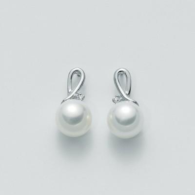 Miluna Orecchini Oro Bianco Perla e Diamanti PER1096X