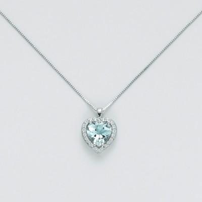 Miluna Girocollo Cuore Diamanti e Acquamarina CLD4213