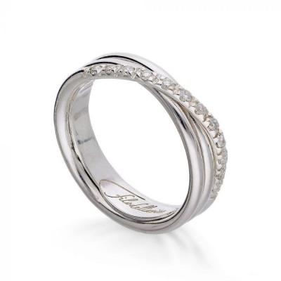 Anello filo della  vita classic 3 fili argento e diamanti bianchi