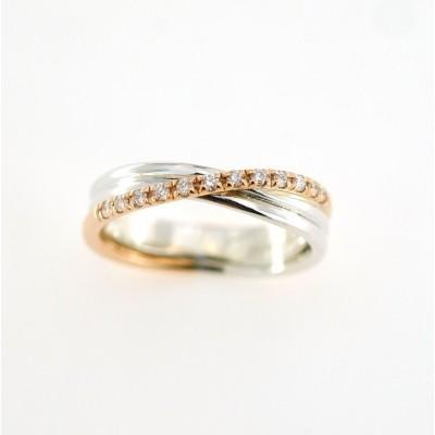 Anello filo della vita 3 fili classic argento oro rosa 9kt. e diamanti